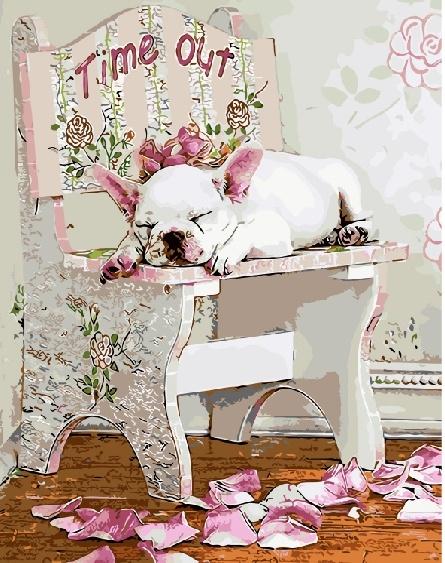 Картина по номерам 40х50 «Спящий бульдог»